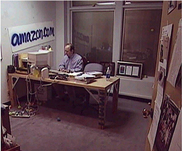 Jeff Bezos in his office during the early days of Amazon.