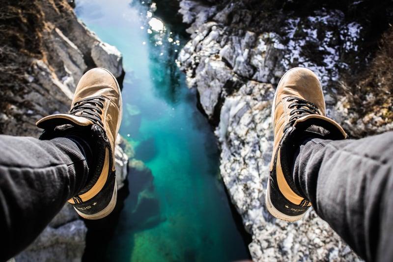 feet off a cliff